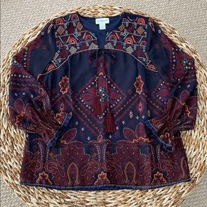 Peck & Peck Embroidered Navy Print Blouse NWOT